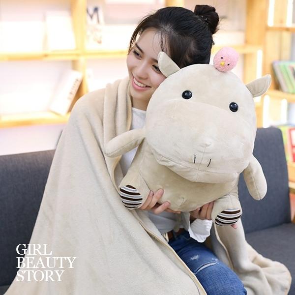SISI【G8024】現貨河馬小雞造型娃娃珊瑚絨空調毯抱枕懶人毯子玩偶辦公室午安枕交換禮物聖誕節