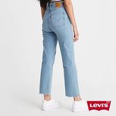 Levis 女款 Ribcage復古超高腰排釦直筒牛仔褲 / 淺藍石洗 / 精工縫補磨損細節 / 及踝款