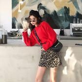 2018秋冬新款韓版時尚豹紋復古后邊拉鏈百搭A字半身裙高腰短裙女  橙子精品