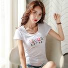 【GZ45】037#純棉夏季短袖T恤女新款修身半袖學生印花潮流上衣服