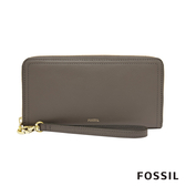 FOSSIL LOGAN 多層真皮拉鍊RFID長夾-大象灰 SL7831046