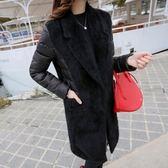 羽絨外套-長版時尚優雅純色有型女夾克2色73it67[時尚巴黎]