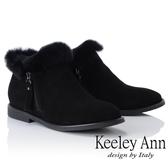 ★2018秋冬★Keeley Ann俏皮甜心~絨毛滾邊側拉鍊短靴(黑色)-Ann系列