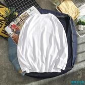 打底衫男長袖圓領t恤韓版純色秋季上衣服潮流白色情侶體恤