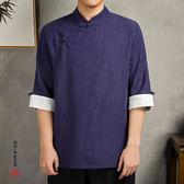 中國風亞麻七分中袖襯衫男中式盤扣棉麻唐裝T恤襯衣復古寸衣  時尚部落