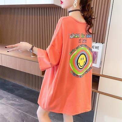 短T~棉質設計感抽褶網紅短袖t恤女夏新款圓領中長上衣大碼女裝TCF1-02胖妞衣櫥