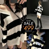 克妹Ke-Mei【ZT56113】choker性感小貓黑白撞色V領毛海毛衣洋裝