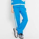 TOP GIRL 獨特網格印花- 吸濕排汗休閒針織長褲  中藍