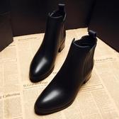 高跟短靴女真皮粗跟中跟馬丁靴秋冬季尖頭切爾西靴子加絨學生英倫