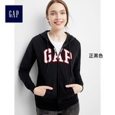 Gap女裝 Logo連帽拉鏈開襟長袖休閒外套 400685-正黑色