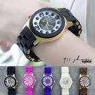 Galaxy.翻糖刻度仿三眼日曆顯示金屬矽膠包框錶帶鍊錶手錶【ta540】*911 SHOP*
