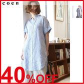 連身洋裝 亞麻上衣 短袖洋裝 襯衫 棉麻洋裝 日本品牌【coen】