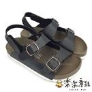 【樂樂童鞋】台灣製跳色小方扣休閒涼鞋-黑色 C086-2 - 女童鞋 男童鞋 涼鞋 現貨 台灣製 兒童涼鞋