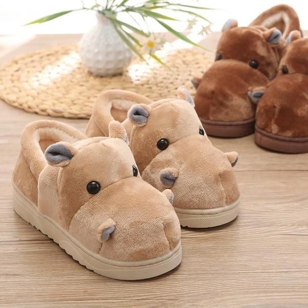 毛拖鞋 冬季居家用可愛卡通男女情侶棉拖鞋包跟保暖室內厚底帶後跟毛棉鞋 歐歐