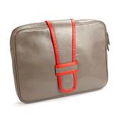 【LILI RADU】德國新銳時尚設計品牌 手工雙色時尚小牛皮電腦包 筆電包 平板包 手拿包 (優雅褐)