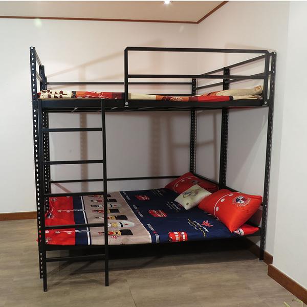 雙人雙層上下鋪 鐵床架 消光黑免螺絲角鋼 組合床 上下床 宿舍床架 含樓梯 空間特工D3BE609