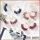 『坂井.亞希子』甜美氣質手作布藝花瓣造型耳環