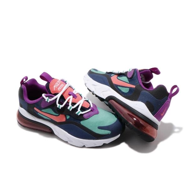【海外限定】Nike 休閒鞋 Air Max 270 React GS 藍 綠 白 女鞋 大童鞋 運動鞋 【ACS】 BQ0103-402