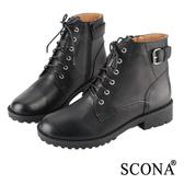 SCONA 全真皮 經典扣飾綁帶短靴 黑色 8769-1