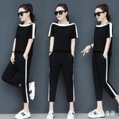休閒套裝女 2020新款韓版時尚寬鬆短袖褲裝 中大呎碼兩件式運動服 TR487『寶貝兒童裝』