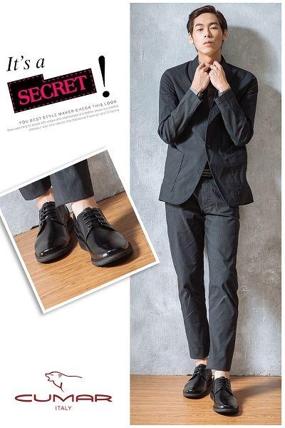CUMAR 超輕舒適大底 真皮綁帶休閒皮鞋-黑色
