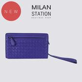 【台中米蘭站】BV 經典全皮編織扣式拉鍊手拿包(紫)