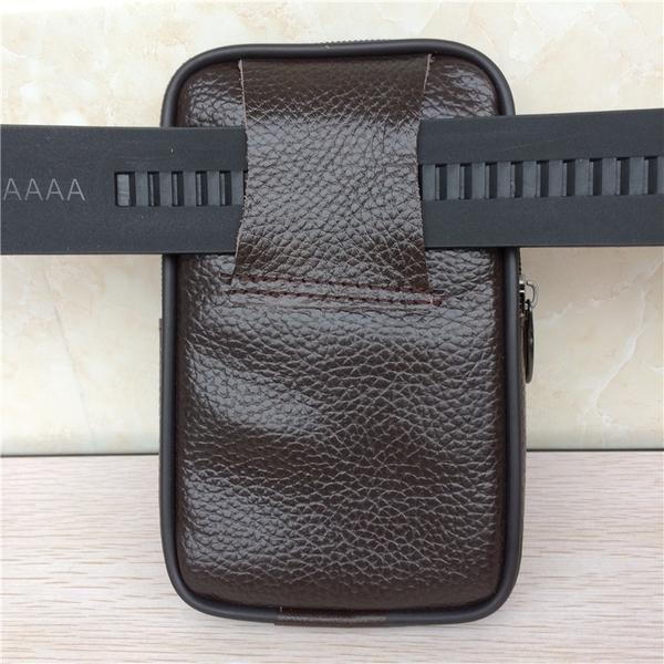 多功能手機腰包男穿皮帶真皮腰包豎款 腰間手機套掛腰包戶外防塵 小山好物