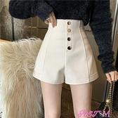 休閒短褲短褲女裝2021年春季新款百搭高腰顯瘦寬鬆網紅闊腿外穿休閒褲子潮 JUST M