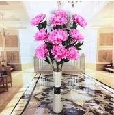 仿真花大牡丹娟花花束客廳落地裝飾套裝*4支粉色牡丹含花瓶