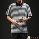 男士夏季短袖t恤胖子條紋寬鬆加肥加大碼潮牌半袖體恤polo衫潮流