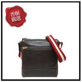 BALLY雙色織帶小牛皮直立拉鍊斜背郵差包(咖啡色)6202933全新商品