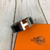 BRAND楓月 HERMES 愛馬仕 黑銀 H 寬版 琺瑯手環 配件 飾品