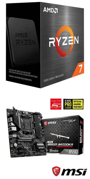 【自組DIY兩件組R58】AMD R7 5800X+微星 B550M BAZOOKA