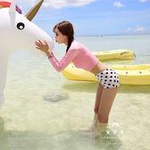 可愛學生浮潛服 長袖泳衣女分體 高腰波點水母衣緊身遮肚沖浪服