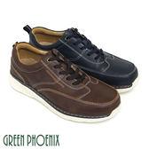 T33-12726 男款輕量牛皮休閒鞋  蠟感牛皮撞色簡單線條綁帶輕量休閒鞋【GREEN PHOENIX】