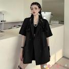 短袖外套短袖西裝外套女2021夏季新款原宿風ins潮寬鬆百搭薄款黑色小西服 愛丫
