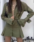 雙11西裝連身裙歐美風秋季新款翻領長袖襯衫連身裙收腰傘裙超A風格短裙