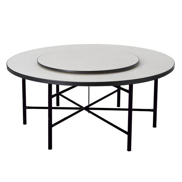 【森可家居】白碎石面8尺圓桌(附5尺轉盤) 8SB361-3 商用 餐廳
