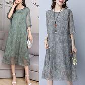 棉麻 復古文藝印花雙層洋裝 獨具衣格