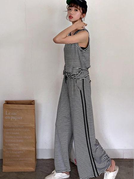 克妹Ke-Mei【AT51943】本季重推!男友休閒風條紋背心+寬鬆闊腿褲套裝