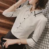 短袖白襯衫女2018夏季新款職業裝女喇叭袖上衣女七分袖襯衣女中袖第七公社