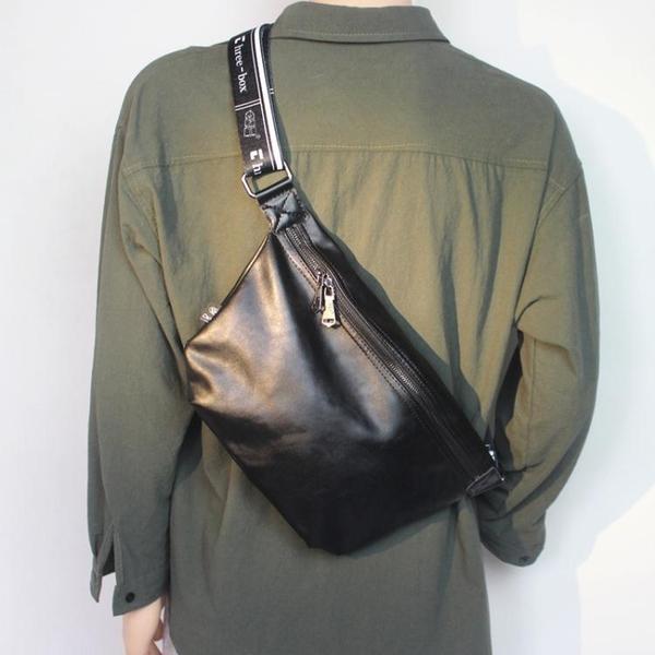 斜背包大潮牌ins運動背包男士胸包皮質側背包簡約嘻哈個性學生包 黛尼時尚精品