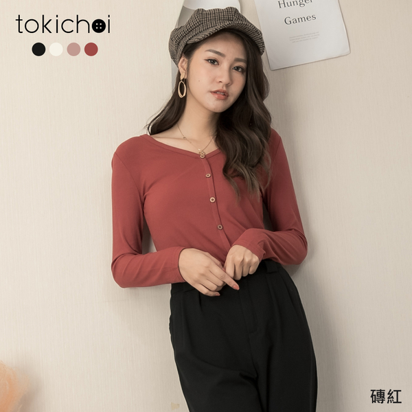 東京著衣-tokichoi-實搭多色彈性坑條彈性V領上衣(191464)【現+預】