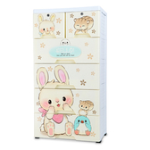 【IDEA】萌Q百變卡通系列五層衣物帶鎖DIY收納櫃(三款任選)兔子