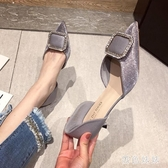 高跟鞋女細跟女鞋子2020年新款春季尖頭中空百搭水鉆仙女單鞋 LF6442『黑色妹妹』