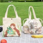便當袋帆布飯盒袋子手提包日式可定製保溫袋大容量上班帶飯手提袋便 快速出貨