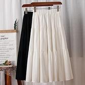 拼接半身裙女秋季新款韓版黑白色蛋糕裙顯瘦大擺A字裙小個子學生 韓國時尚週