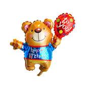 14吋氣球手拿棒-生日氣球熊