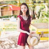 紅色連體裙式泳衣蕾絲聚攏性感游泳裝 SDN-4908
