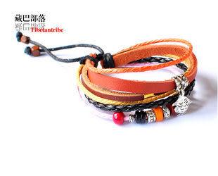 藏銀小魚兒桃木油麻繩編皮繩手帶
